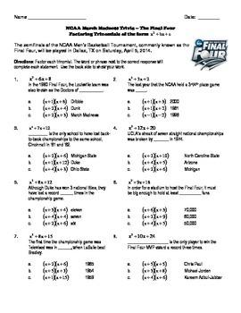NCAA March Madness Trivia Puzzle - Factoring Trinomials