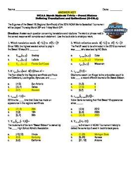 NCAA Sweet 16 2017 Trivia Puzzle - Defining Translations and Reflections