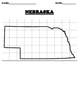 NEBRASKA Coordinate Grid Map Blank