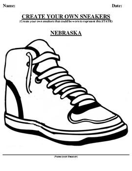 NEBRASKA Design your own sneaker and writing worksheet