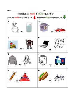 NEEDS & WANTS QUIZ-GRADES K-2