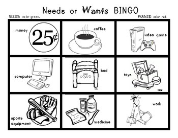 NEEDS and WANTS BINGO Game! Social Studies for Kindergarten and First