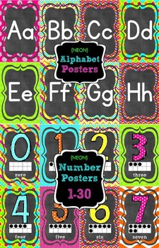 {NEON} Alphabet and Number Posters Bundle
