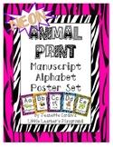 NEON Animal Print Manuscript Alphabet Poster Set