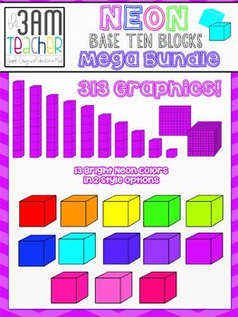 NEON Base Ten Blocks - Clip Art Mega Bundle!!