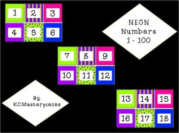 NEON Calendar Numbers 1-100