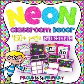 neon chalkboard decor bundle editable