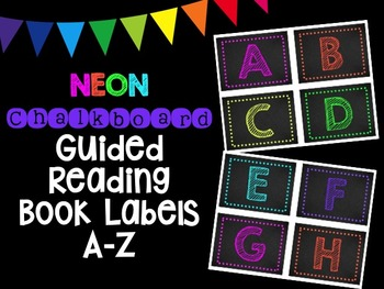 NEON Chalkboard Guided Reading Book Labels A-Z