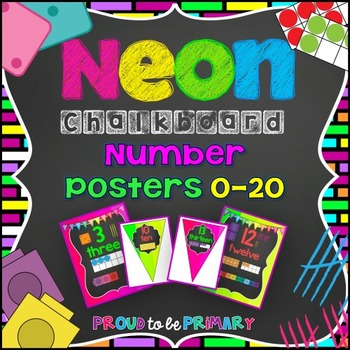NEON Chalkboard Number Posters