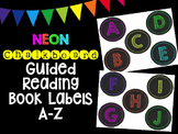 NEON Chalkboard Round Guided Reading Book Labels A-Z