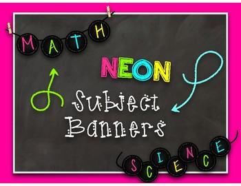 NEON Chalkboard Subject Banners