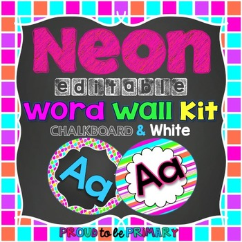 NEON Chalkboard Word Wall Kit EDITABLE