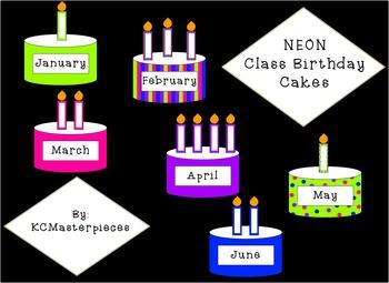 NEON Class Birthday Cakes Set