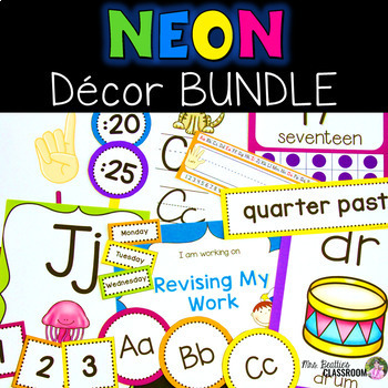 Neon Classroom Decor Bundle By Mrs Beatties Classroom Tpt