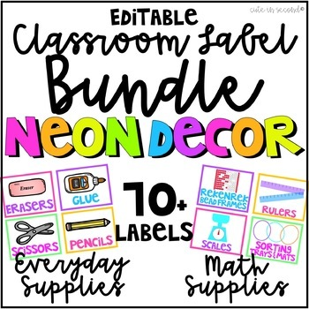 Neon Classroom Decor Supply Bin Labels Bundle By Cute In Second Tpt
