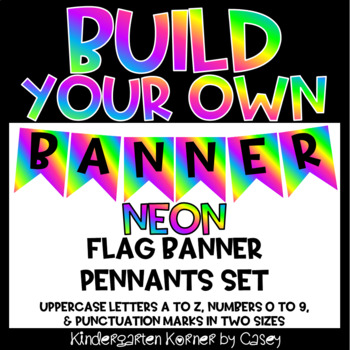 Build Your Own Banner NEON Edition A to Z 0 to 9 Printable Letters Numbers