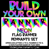 Build Your Own Banner NEON Edition A to Z 0 to 9 Printable