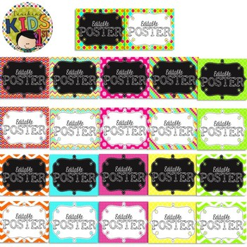 NEON Journeys Kindergarten Focus Wall Set + Editable Labels