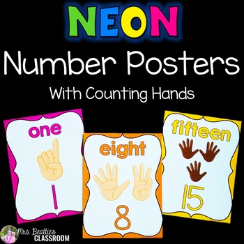 Number Posters - NEON Decor - With Counting Hands