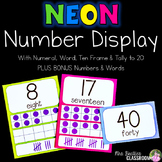 Number Posters - NEON Decor - With Ten Frames and Tally