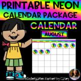 NEON Printable Calendar Set- Months Numbers 1 to 31 Bullet
