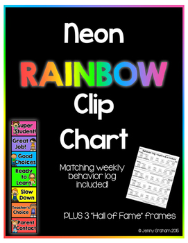 NEON Rainbow Clip Chart! Now with weekly behavior log!