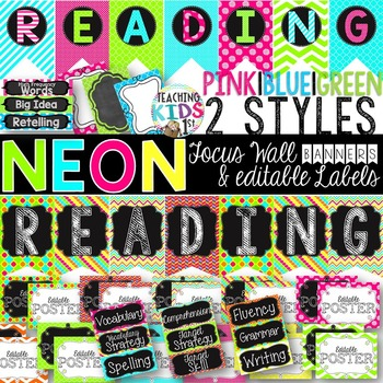{NEON} Reading Focus Wall Banners & EDITABLE Labels