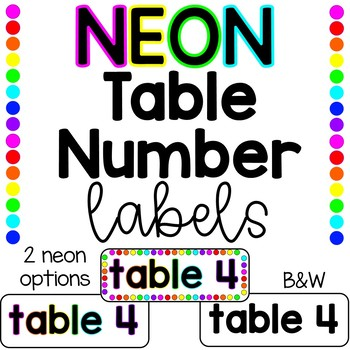 NEON Table Number Labels