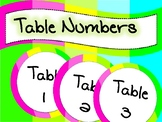 FREEBIE!! NEON Table numbers