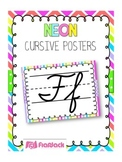 NEON Themed Cursive Alphabet Posters