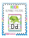 NEON Themed Manuscript Alphabet Posters