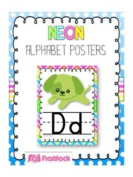 NEON Themed Manuscript Alphabet Posters