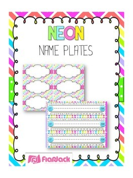 NEON Themed Name Tags Plates
