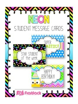 NEON Themed Student Message Cards (Postcards)
