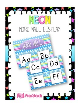 NEON Themed Word Wall Alphabet