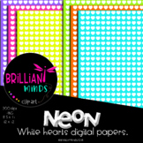 NEON WHITE HEARTS DIGITAL PAPERS