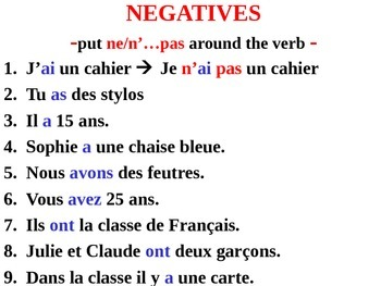 ne pas french negative sentence practice with avoir by sarah peterson. Black Bedroom Furniture Sets. Home Design Ideas
