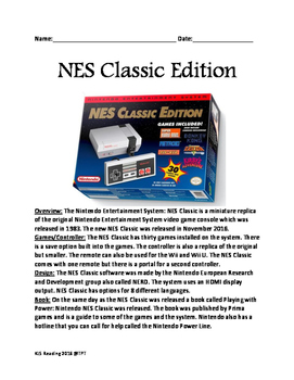 NES Classic Video Game Lesson review facts questions Nintendo word search