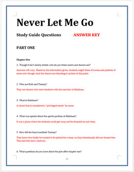 NEVER LET ME GO Study Guide Questions (100+ w/ answers)