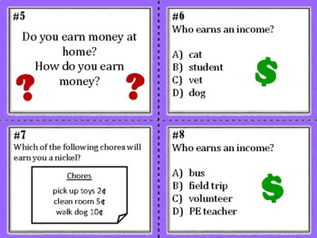 NEW  1st grade Personal Financial Literacy Task Cards (aligned to TEKS 1.9 A-D)
