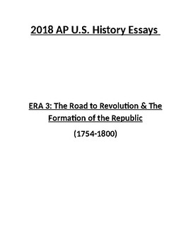 NEW 2018 AP US History Era 3 Essays (with answers)