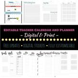 NEW 2021 Editable Teacher Calendar and Planner - Digital &
