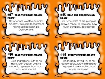 NEW  Halloween Fractions Task Cards for Gr.2-3