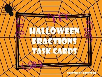 NEW  Halloween Fractions Task Cards for Gr.2-3
