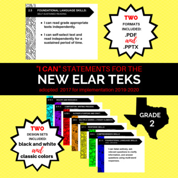 "NEW 2nd Grade ELAR TEKS ""I Can"" Statements for 2019-2020 