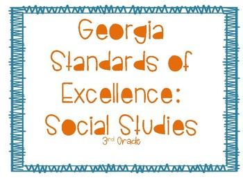 NEW 3rd Grade Georgia Standards of Excellence (GSE) Social Studies Posters