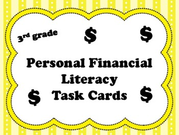 NEW  3rd grade Personal Financial Literacy Task Cards (ali