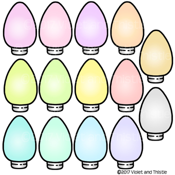 Christmas Lights Frosty Ice Pastel Colors Clipart Clip Art