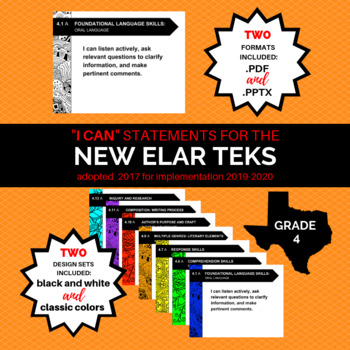 """NEW 4th Grade ELAR TEKS """"I Can"""" Statements for 2019-2020"""
