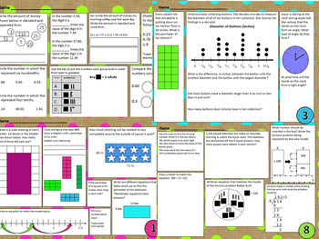 NEW! 4th Grade Math Spiral Choice Boards BUNDLED All 4 Sets Over 260 Questions